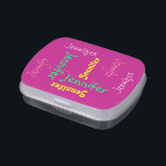 """Personalized Custom Pink Candy Tin Party Favor<br><div class=""""desc"""">What a wonderful, personalized party favor for a birthday party or any other occasion. A Jelly Belly candy tin filled with mints or your favorite flavor of Jelly Belly candy! Name repeats in different fonts, different colors, different sizes on a hot pink background. Easy to personalize - just CHANGE NAME...</div>"""