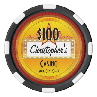 Personalized Custom Poker Chips, Gold/Red Casino Poker Chips Set