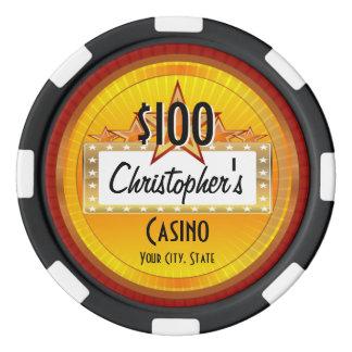 Personalized Custom Poker Chips, Gold/Red Casino Poker Chips Set