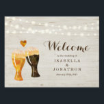 """Personalized Custom Rustic Beer Wedding Welcome Lawn Sign<br><div class=""""desc"""">Hand painted watercolor beer toast complemented by beautiful calligraphy.</div>"""