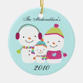 Personalized Custom Snowman Family Ornament