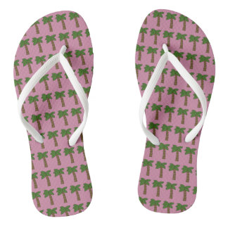 Personalized Custom Tiny Coconut Palm Tree Pink Flip Flops