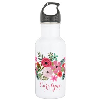 Personalized custom water bottle Floral chic