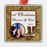 Personalized Custom Western Cowgirl Hat/Boots Brow Christmas Ornaments
