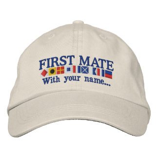 Personalized Custom Your First Mate Nautical Flags Embroidered Baseball Cap
