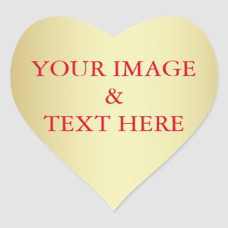 Personalized Custom Your Own Photo & Text Gold Heart Sticker
