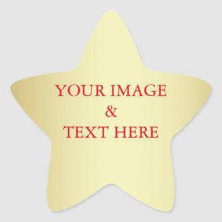 Personalized Custom Your Own Photo & Text Gold Star Sticker