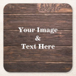 "Personalized Custom Your Own Photo Wooden Square Paper Coaster<br><div class=""desc"">You can add your favorite photo. This is perfect gift idea. Personalize with your name and other text.</div>"