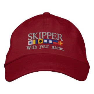 Personalized Custom Your Skipper Nautical Flags Embroidered Baseball Hat