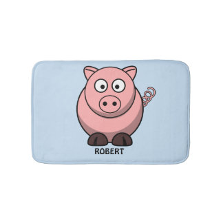 Personalized customized Animal Pig Blue Bathroom Mat