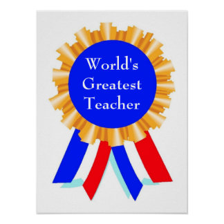 Personalized Customized Blue Ribbon Award Posters
