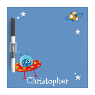 Personalized Cute Alien Spaceship Dry Erase Boards