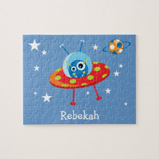 Personalized Cute Alien Spaceship Jigsaw Puzzle
