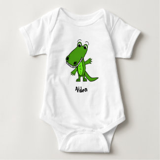 Personalized Cute Alligator Cartoon Baby Bodysuit