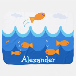 Personalized Cute and Fun Flying Fish Illustration Swaddle Blanket