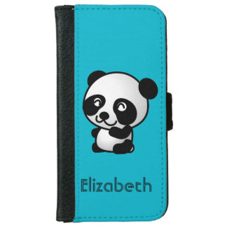 Personalized cute and happy panda bear iPhone 6 wallet case