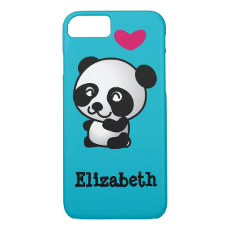 Personalized cute and happy panda bear with heart. iPhone 7 case