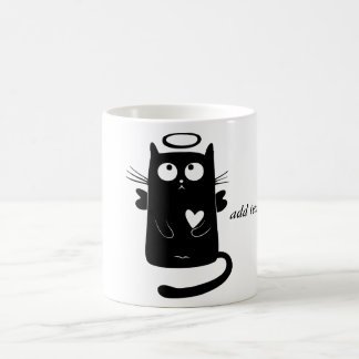 Personalized Cute Angel Black Cat Coffee Mug