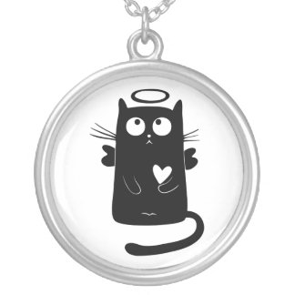 Personalized Cute Angel Black Cat Silver Plated Necklace