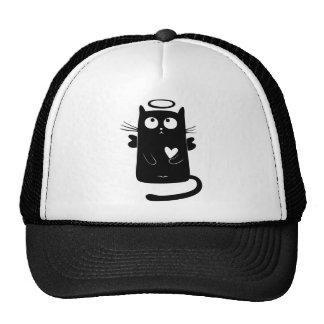 Personalized Cute Angel Black Cat Trucker Hat