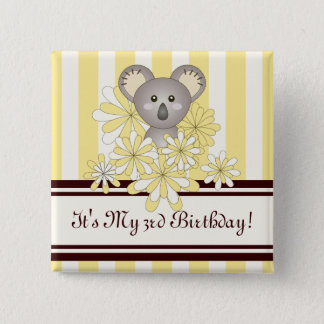Personalized Cute Animal Kids Birthday Yellow Button