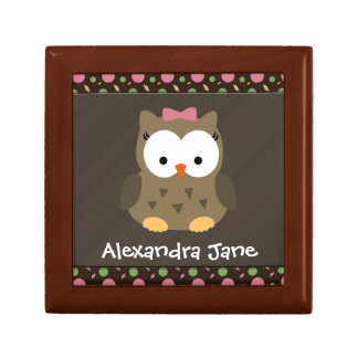 Personalized Cute Baby Girl Owl, Trinket/Gift Box