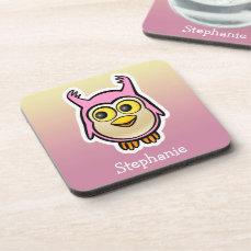 Personalized Cute Baby Owl Cartoon Beverage Coaster