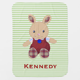 Personalized Cute Baby Rabbit Stripes   Green Red Stroller Blanket