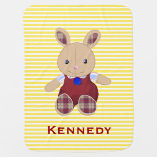 Personalized Cute Baby Rabbit Stripes   Yellow Red Swaddle Blanket