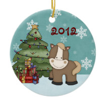 Personalized Cute Baby's 1st Christmas Horse Ceramic Ornament