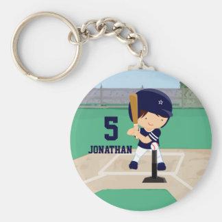 Personalized Cute Baseball cartoon player Basic Round Button Keychain