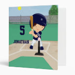 Personalized Cute Baseball cartoon player 3 Ring Binders