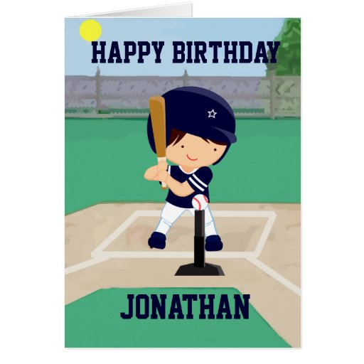 Personalized Cute Baseball cartoon player Greeting Cards