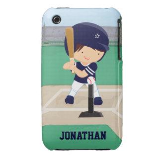 Personalized Cute Baseball cartoon player Case-Mate iPhone 3 Case