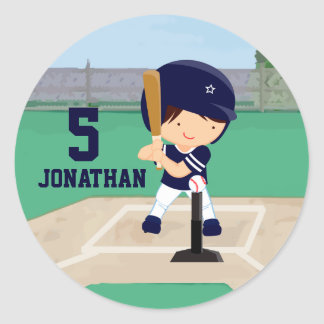 Personalized Cute Baseball cartoon player Classic Round Sticker