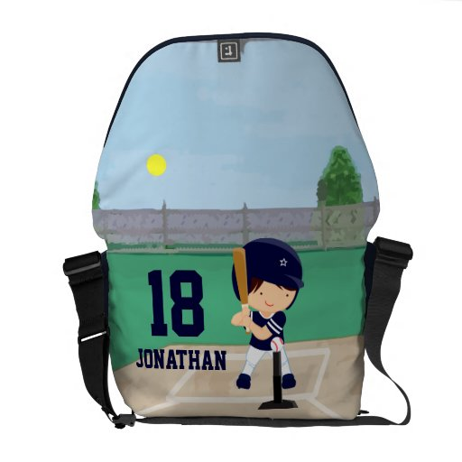 Personalized Cute Baseball cartoon player Courier Bag