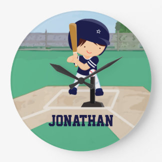 Personalized Cute Baseball Cartoon Player in Blue Large Clock
