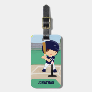 Personalized Cute Baseball Cartoon Player in Blue Bag Tags