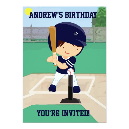 Personalized Cute Baseball cartoon player Invitation
