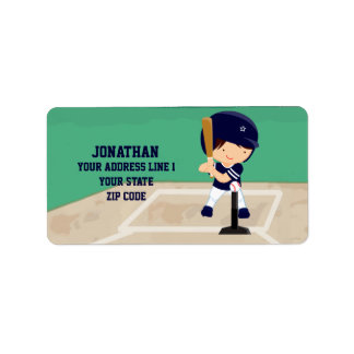 Personalized Cute Baseball cartoon player Personalized Address Labels