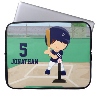 Personalized Cute Baseball cartoon player Laptop Sleeves