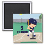 Personalized Cute Baseball cartoon player Refrigerator Magnet