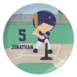 Personalized Cute Baseball cartoon player Melamine Plate