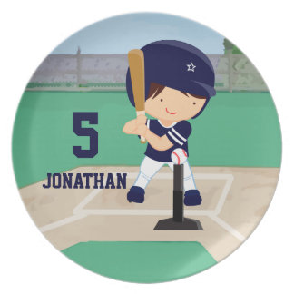 Personalized Cute Baseball cartoon player Melamine Plate