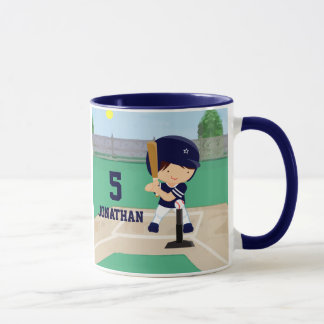 Personalized Cute Baseball cartoon player Mug