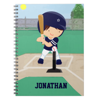 Personalized Cute Baseball cartoon player Spiral Notebook