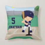 Personalized Cute Baseball cartoon player Pillows