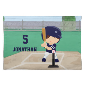 Personalized Cute Baseball cartoon player Placemat