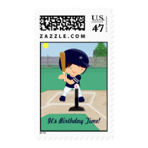 Personalized Cute Baseball cartoon player Postage