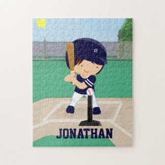 Personalized Cute Baseball cartoon player Jigsaw Puzzles